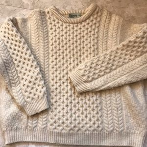 Irish Wool Sweater Fisherman Cable Cream Merino